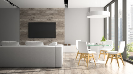 Modern interior with fout white chairs 3D rendering