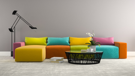 Part of interior with  modern colorful sofa 3d rendering Imagens