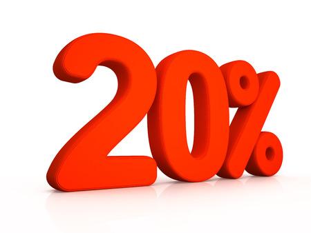 twenty: twenty percent simbol on white background 3D Stock Photo