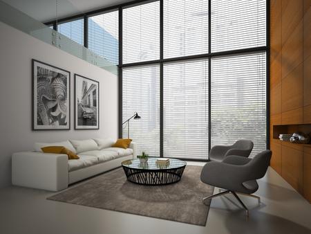 Interno della camera con pannello in legno di rendering 3D muro