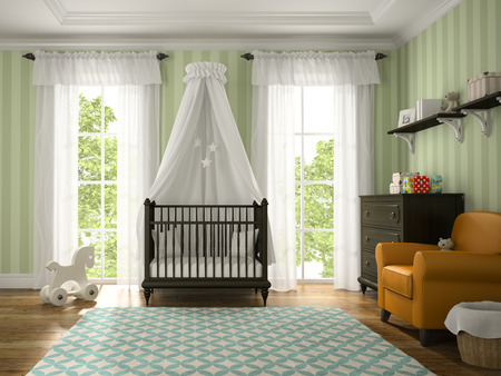 children room: Classic children room with brown cradle 3D rendering