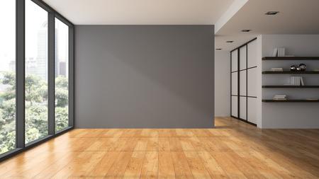 本棚 3 D レンダリングと空の部屋