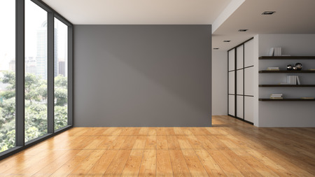 view window: Empty room with book shelfs 3D rendering