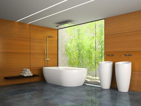 bambou: Intérieur de la salle de bain avec mur en bois rendu 3D