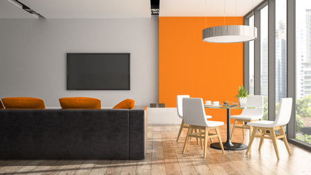 Modern interior with white chairs and orange wall 3D rendering