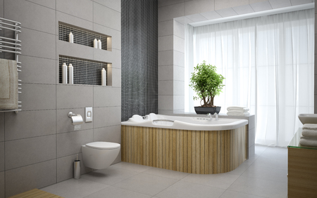 bathroom design: Interior of the modern design  bedroom 3D rendering