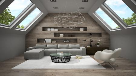 mansard: Interior of stylish mansard room 3D rendering 2