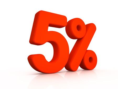 simbol: five percent simbol on white background 3D