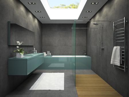 ウィンドウの 3 D レンダリングを天井付きのバスルームのインテリア
