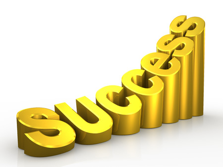 Success gold word isolated on white background 3D Stock Photo