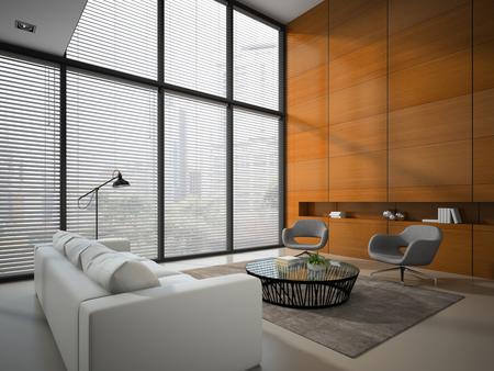 Intérieur de la chambre avec panneau de bois rendu mur 3D