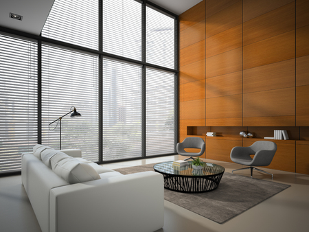 white wood floor: Interior of the room with wooden panel wall 3D rendering