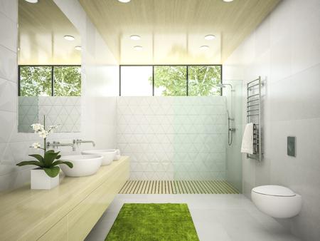木製の天井の 3 D レンダリングとバスルームのインテリア