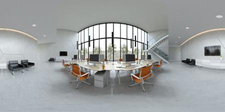 Interior modern open space office 3 D illustration