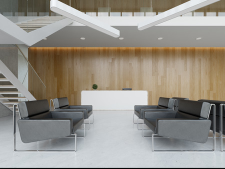 Interior of a hotel office lobby spa reception 3 D illustration Banco de Imagens