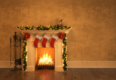 Fireplace with christmas decoration 3 D rendering