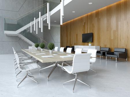 Interieur van ontvangst- en vergaderruimte 3D illustratie Stockfoto