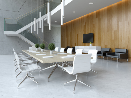 Interior of reception and meeting room 3 D illustration Banco de Imagens