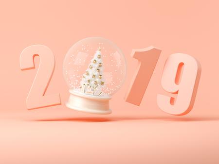 2019 numbers with snow ball 3 D illustration