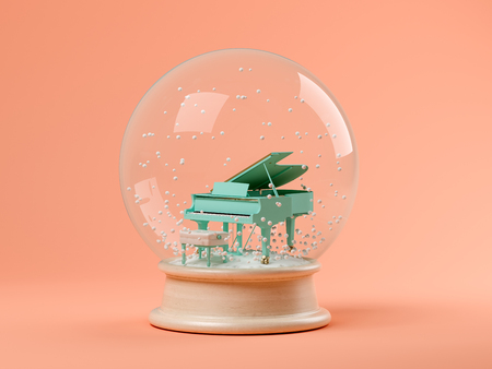 Snow globe with piano on a pink background 3 D illustration