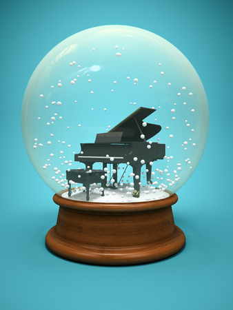 Snow globe with piano on a blue background 3 D illustration