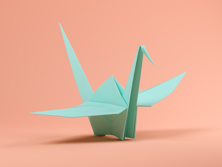 Blue origami on pink background 3 D illustration
