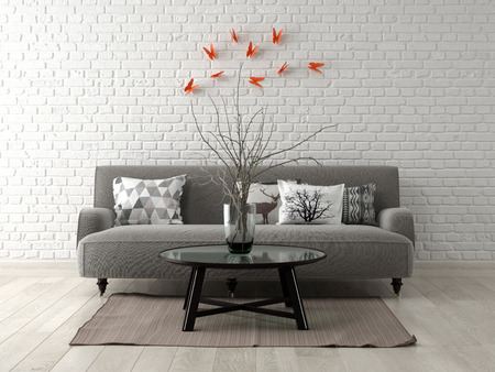 Part of modern interior design 3 D rendering