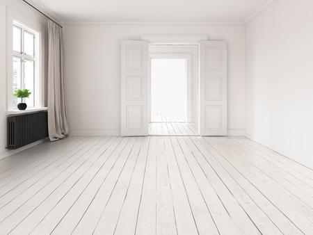 Interior of empty room 3 D rendering