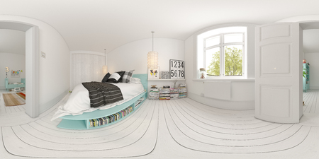 Spherical 360 panorama projection Bedroom interior design 3 D rendering