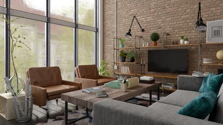 Loft style interior design 3 D rendering Banco de Imagens - 113527279