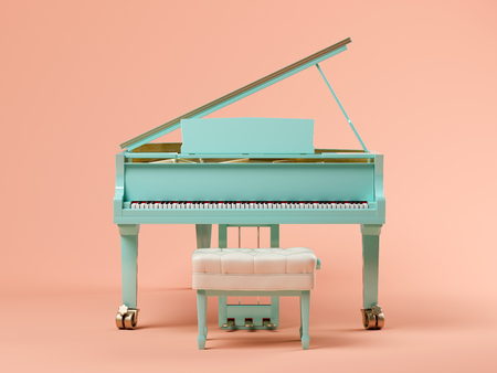 Blue grand piano on pink background 3 D illustration