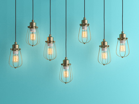 Seven vintage lamps hanging from the ceiling with blue wall 3 D renderind