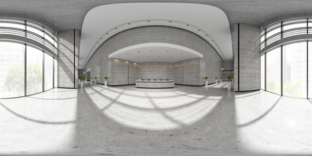 Spherical 360 panorama projection Interior of reception 3 D illustration
