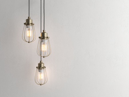 Three vintage lamps hanging from the ceiling with wall 3 D renderind Stock Photo