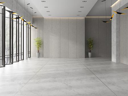 Interior of a lobby hotel reception 3D illustration