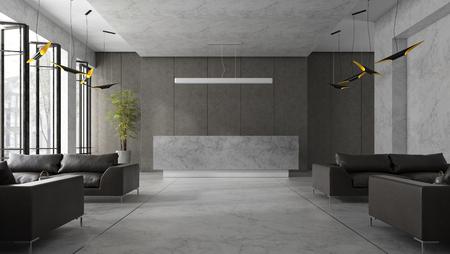 Interior of hotel and spa reception 3D illustration Фото со стока