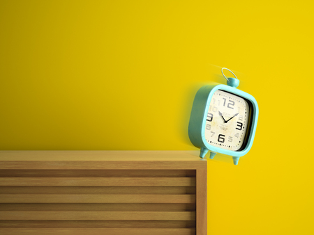 Retro alarm clock falling from the table 3D rendering Stock Photo