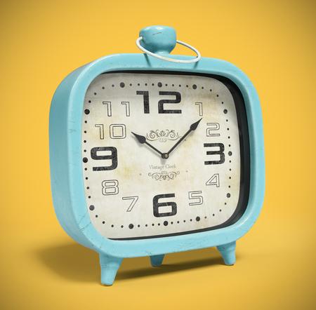 Retro alarm clock isolated on yellow background 3D rendering Stock Photo