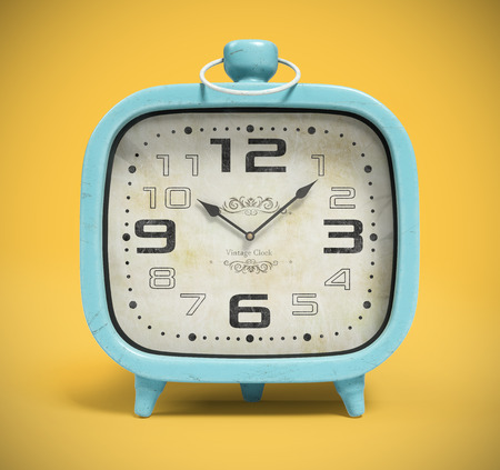 Retro alarm clock isolated on the yellow background 3D rendering