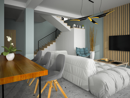 Interior of modern design room 3D illustration 写真素材