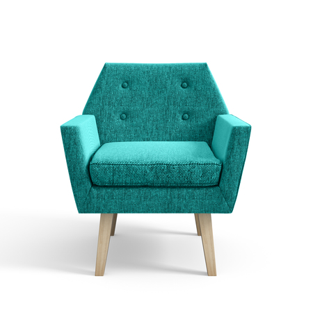 Armchair isolated on white background 3D rendering Stock Photo