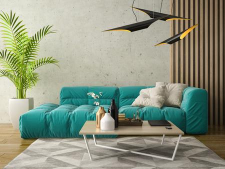 Interior of modern design room 3D illustration Stock Photo