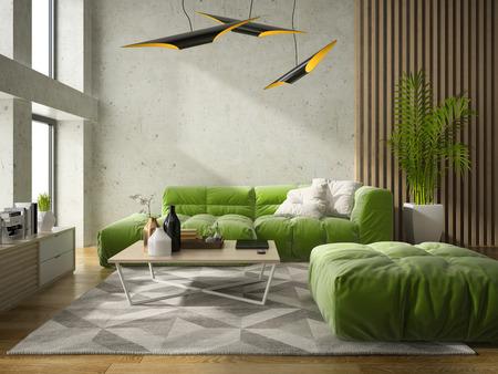 Interior modern design room 3D illustration Stock Photo