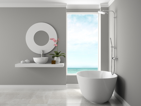 Interior bathroom with sea view 3D rendering