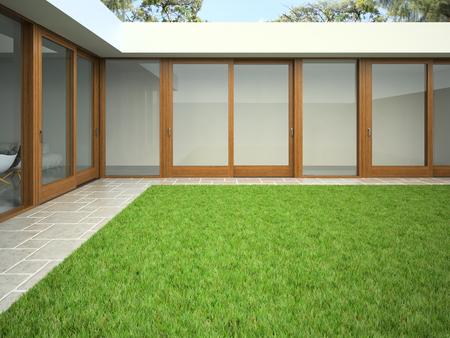 Yard with lawn 3D rendering. Reklamní fotografie