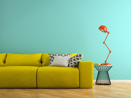 Part of interior with yellow sofa and red lamp 3D rendering