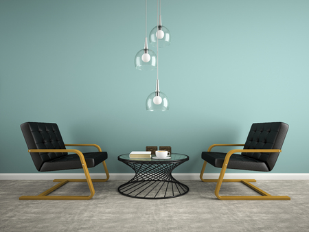 Part of interior with two black armchair 3D rendering