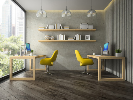 Interior of modern office with two yellow armchair 3D rendering Stockfoto