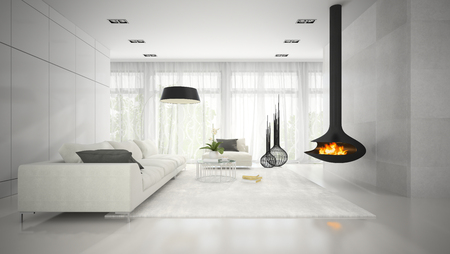 Interior of modern design white room with fireplace 3D rendering Stockfoto
