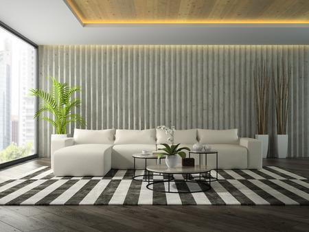 Interior of modern design room with white sofa 3D rendering Stock fotó